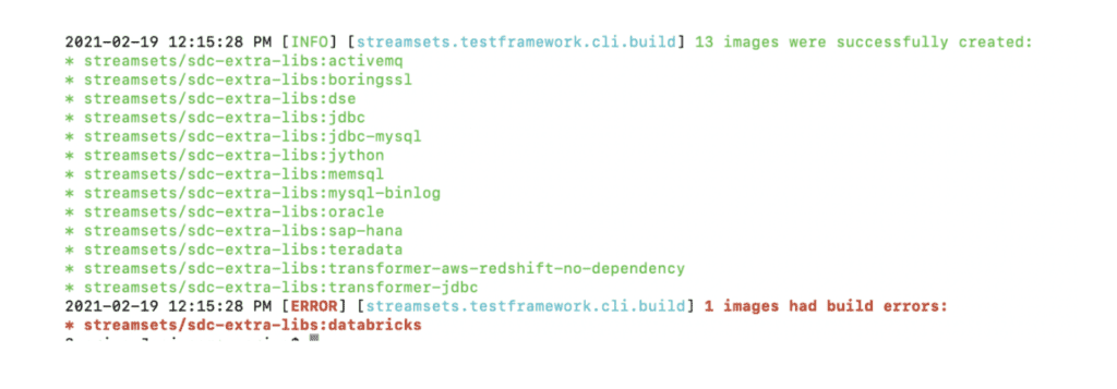 Screenshot of a code snippet if you were to get a build error within StreamSets test framework