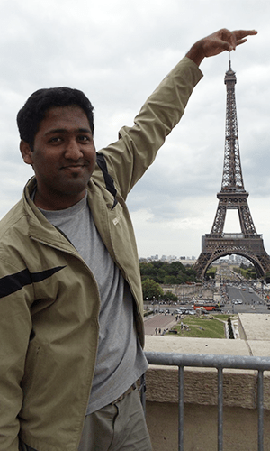 Picture of Ajay in Paris at the Eiffel Tower