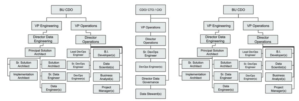 A slide showing a sample complex data platform org structure