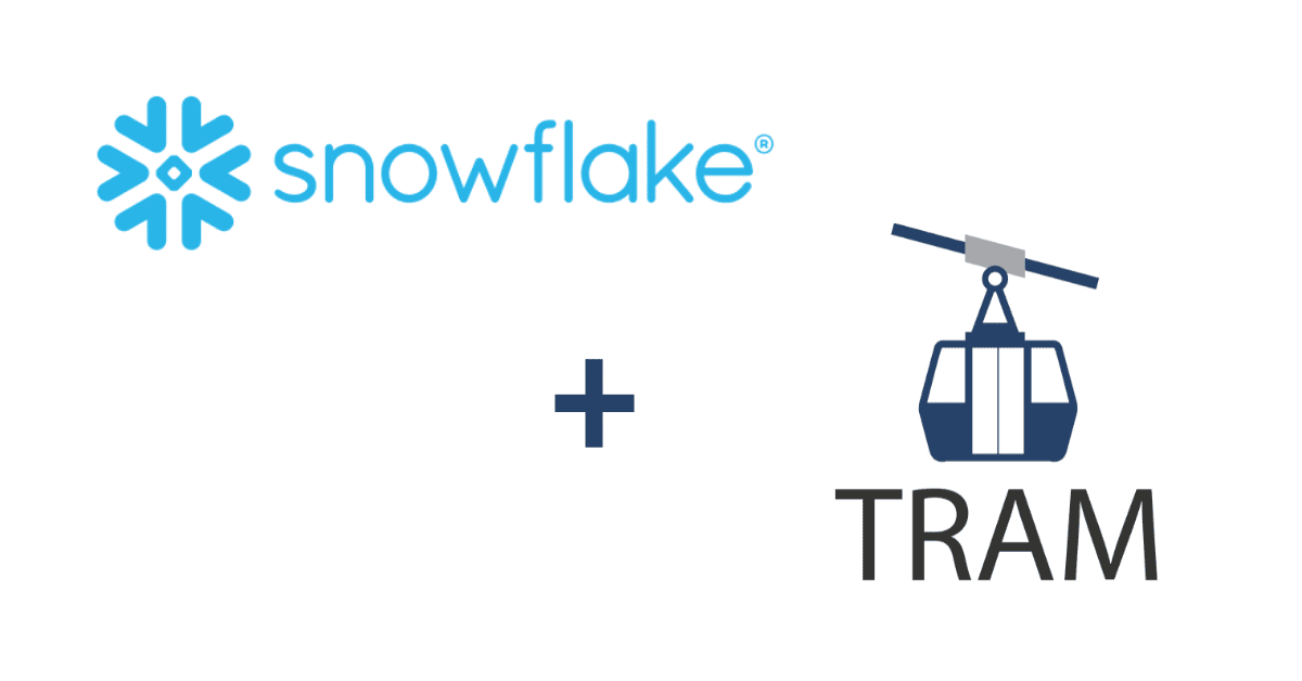 Snowflake logo and the Tram logo with a plus sign between them