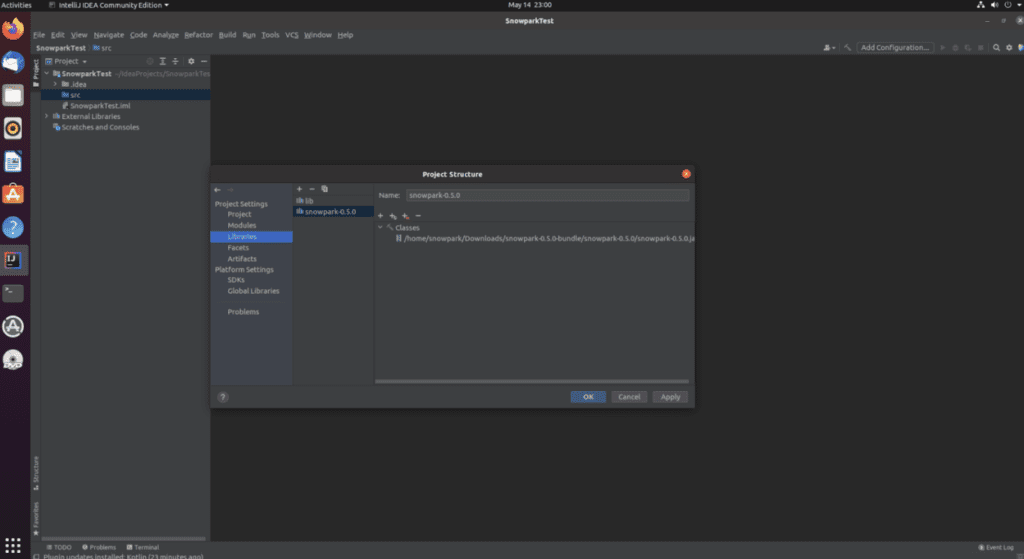 """A screenshot with a pop-up message that says, """"Project Structure"""""""
