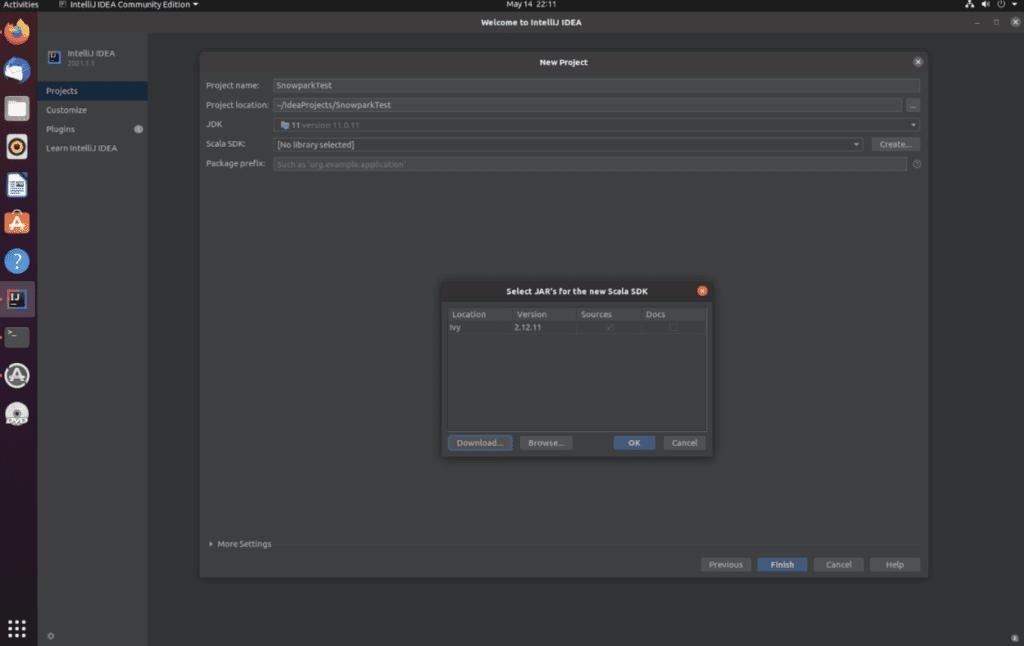 A screenshot of the IntelliJ IDEA download message