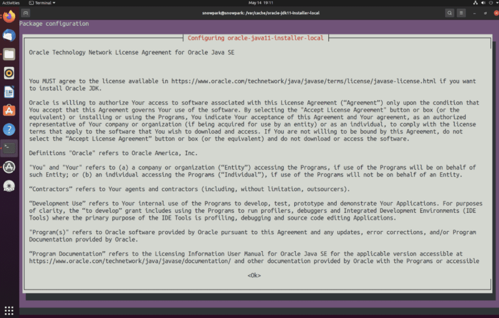 A screenshot of the Oracle license agreement pop up