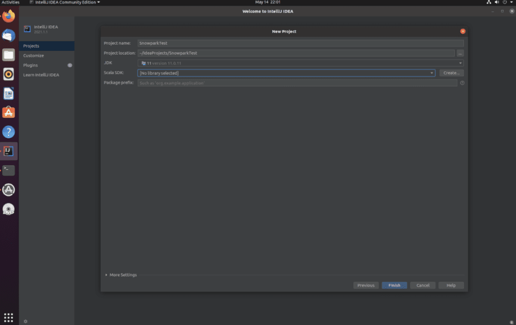 "A screenshot of the ""New project"" in IntelliJ IDEA"