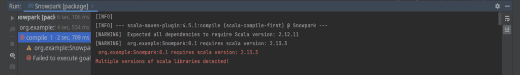 A screenshot that shows potential issues with multiple Scala versions