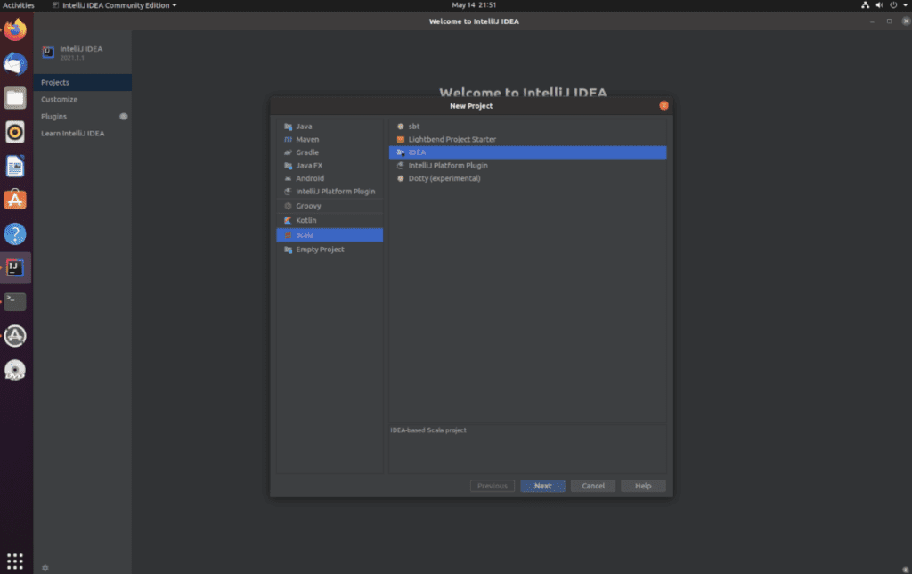 """A screenshot of the IntelliJ startup sequence that says, """"New project."""""""