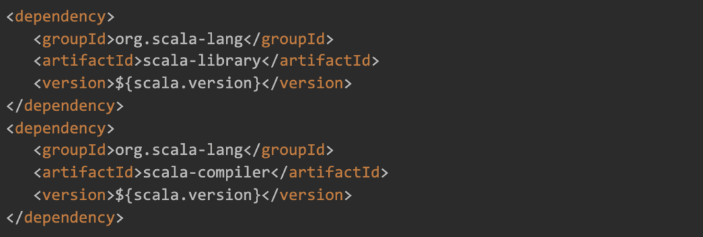 a screenshot showing a Scala dependency in a pom.xml file