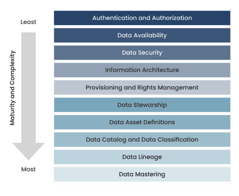 A high-level graphic that shows how data governance is structured.