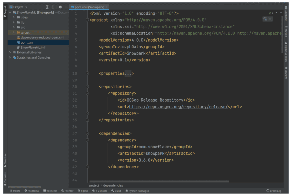 A screenshot of several lines of code