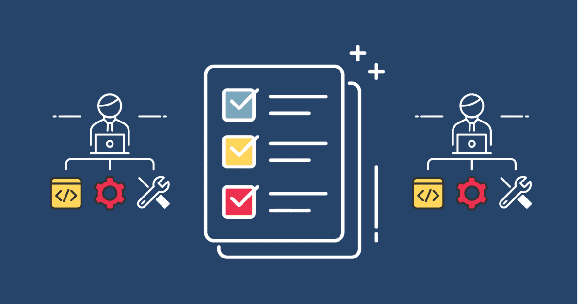 An image with 3 icons, one depicting a checklist and the other two are both of support people