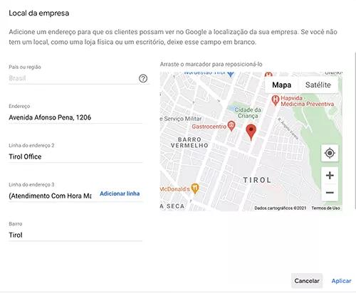 Tela que altera o endereço no Google Meu Negócio