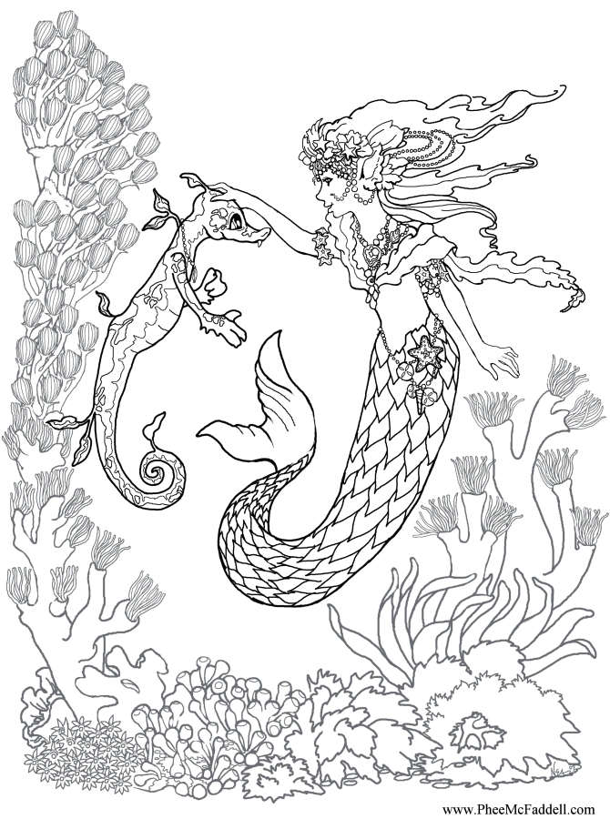Mermaid Training a Sea Dragon Coloring Page www