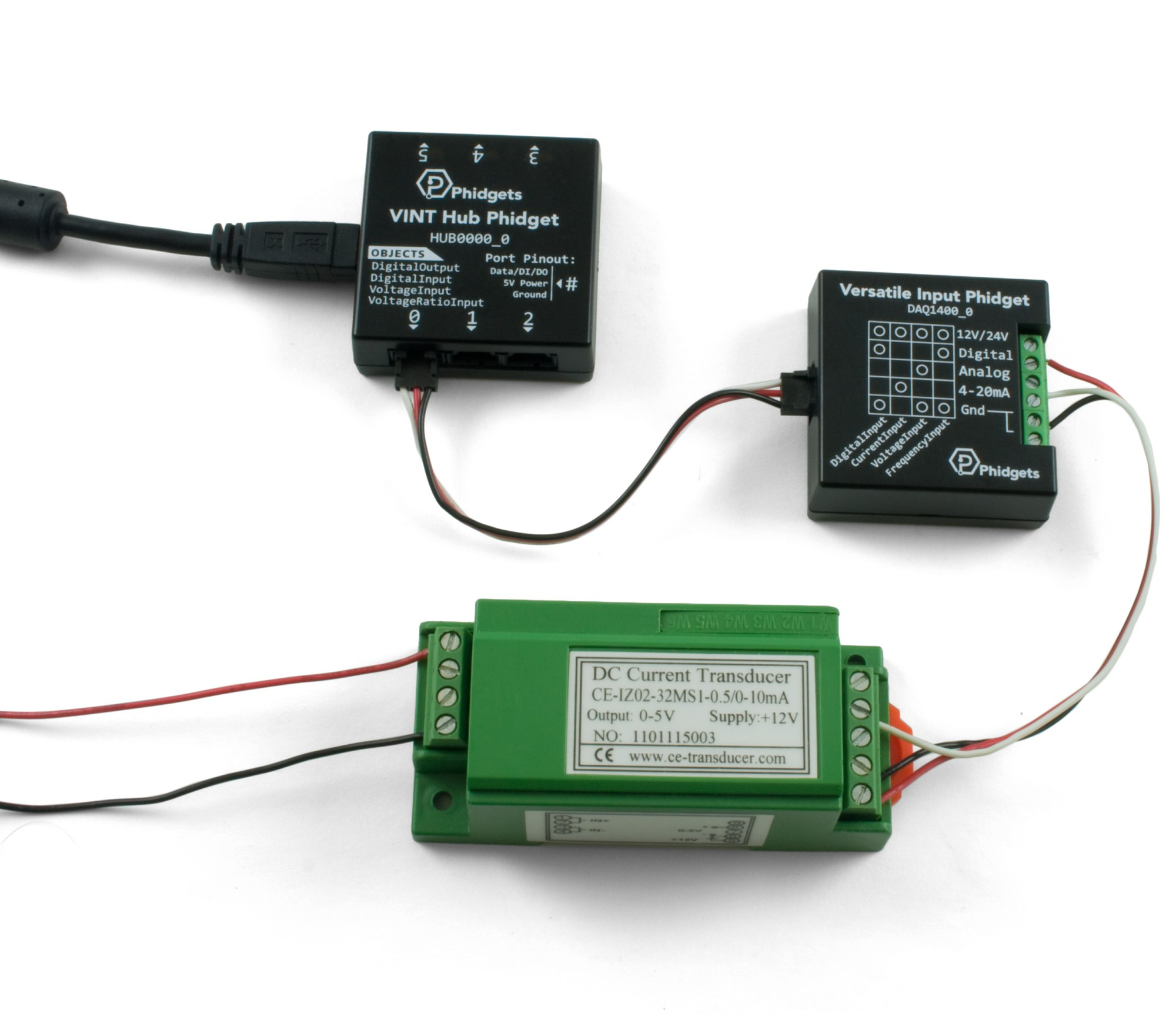 hight resolution of alternatively you can use the versatile input phidget which is a vint controlled device that can interface a wide variety of sensors