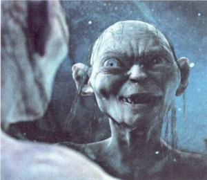 Crazy things we say to ourselves. Gollum talks to himself often.