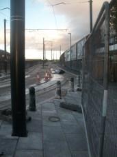 Metrolink tram link in construction outside Rochdale Rail station