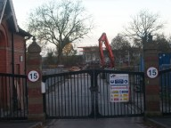 Westhulme Hospital Entrance gates and demolition in background October 2012
