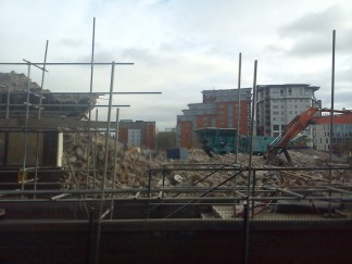Taken Nov 9 2012. BBC Manchester Oxford Road demolition.