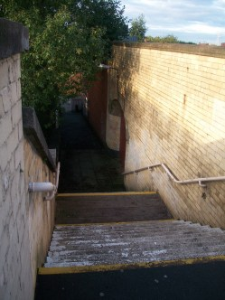 Failsworth Rail station steps, at time of closure of line for conversion to Metrolink