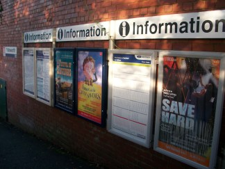 Failsworth Rail station signs, at time of closure of line for converstion to Metrolink