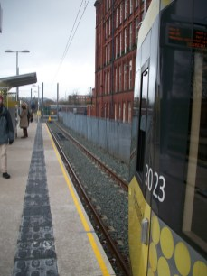 Shaw and Crompton Metrolink station, a few days after opening
