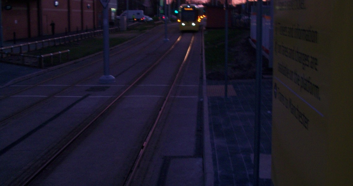 Tram arriving Wythenshawe Town Centre