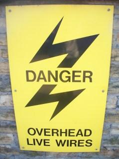 Danger Overhead live cables