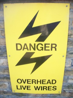 Danger Overhead live cables