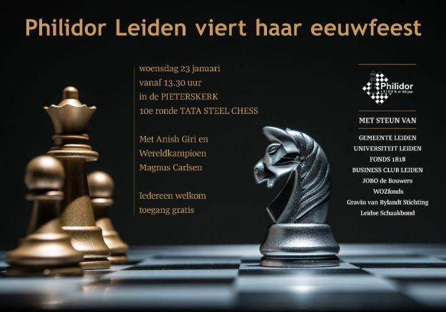 poster met aankondiging TATA steel Chess in Leiden georganiseerd door Philidor 100 jaar.