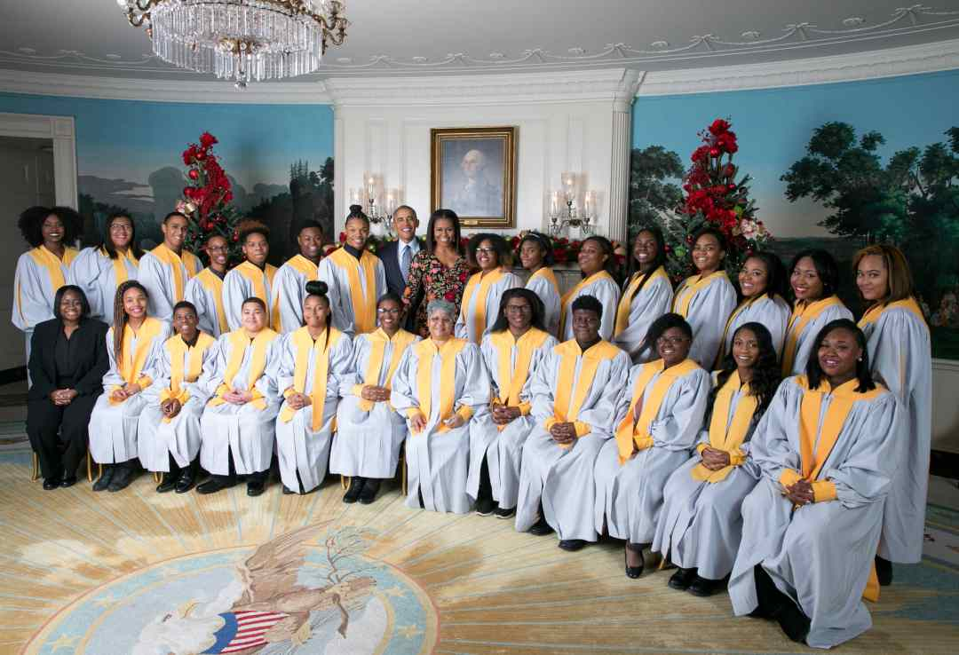 President Barack Obama and First Lady Michelle Obama greet The Wirt-Emerson Concert Choir