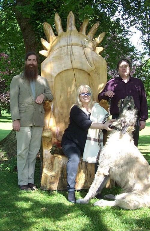 LtoR: John Michael Greer, Dwina Murphy-Gibb, Gordon Cooper at the Prebendal, Oxfordshire, June 2003