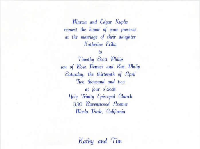 Wedding Of Kathy Kuplis And Tim Philip Marriage Reception Invitation Sms For Friends