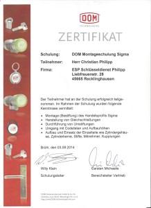 DOM Schließanlagen Fachgerechter Zertifikat