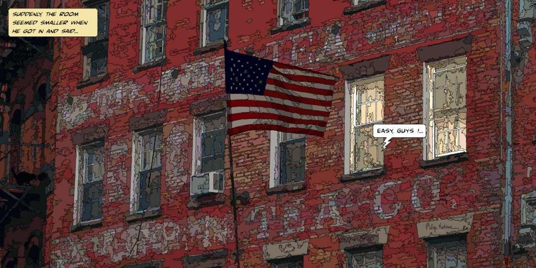 "Brick building ""Easy guys"" -- Medium 100x50 229€ // Large 160x80 479€ // XLarge 180x90 479€"