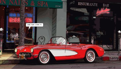 "Corvette ""care for a ride ?"" -- Medium 90x50 219€ // Large 140x80 429€"