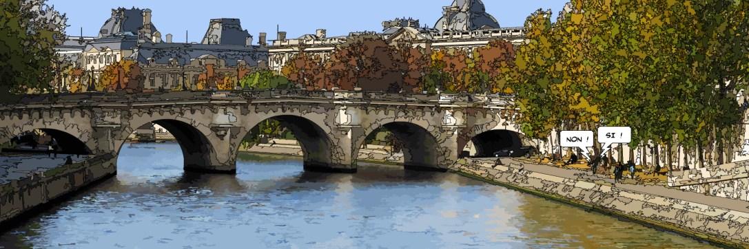 "Petit Pont Neuf ""non, si"" -- Medium 120x40 259€ // Large 180x60 429€"