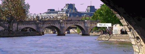 "pont neuf ""pas là"" -- Medium 100x40 199€ // Large 160x60 399€"