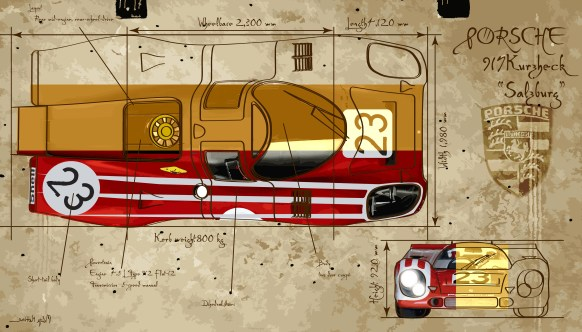 Porsche 917 K Salzburg -- Medium 90x50 219€ // Large 140x80 429€