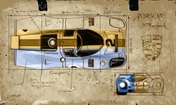 Porsche 917 K Gulf-- Medium 90x50 219€ // Large 140x80 429€