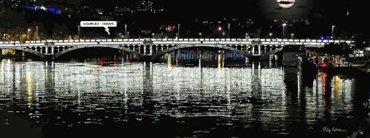 Lyon // Pont Wilson, nuit -- Medium 40x100 199€ // Large 160x60 399€