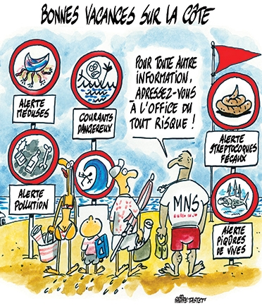 dessin : vacances au bord de la mer, la mer est dangereuse