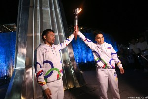 Boxing and legend and Philippine senator Manny Pacquiao lights the cauldron to open the 2019 South East Asian Games at the New Clark City in Tarlac, Philippines.