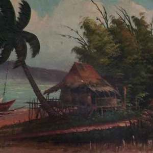 Hut in storm painting