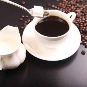 Imported coffee with sugar and milk