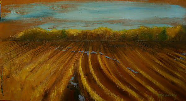 PLOWED FIELDS is an acrylic on stretched canvas 36x18