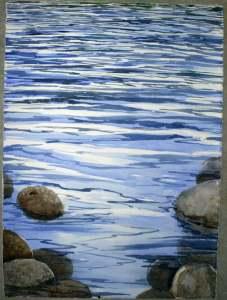 """River Rocks watercolour on paper 21x29"""""""