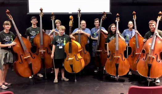 Phillip Serna directing OPUS Chamber Music Camp's double bass students