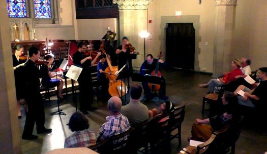 Phillip Serna Performing with the period-instrument ensembles Burning River Baroque & New Comma Baroque Presenting Johann Gottlieb Graun's Concerto for Violin, Viol, Strings & Continuo in c-minor at the Boston Early Music Festival Fringe