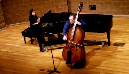 Performing Contrabass Unbound with Emily Katayama at Valparaiso University