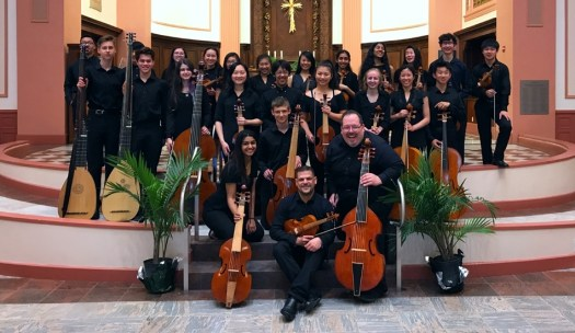 Phillip Serna co-directing Adlai E. Stevenson High School period-instrument Baroque ensemble & viol consorts at the Boston Early Music Festival