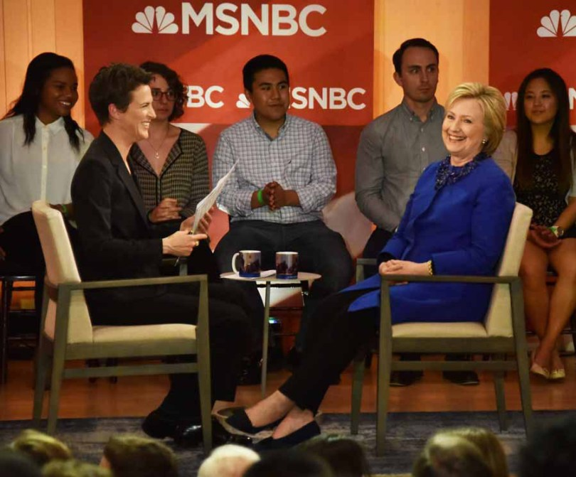 Everything was light and jovial, with Hillary stressing to Rachel that she is 2.5 million votes ahead of Bernie, and has 250 Super Delgates, so she's not worried.